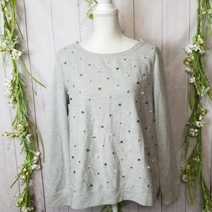 Loft sz XL Grey Sweater Pearl Beaded